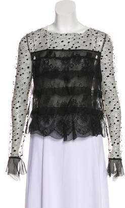 Valentino Silk-Accented Lace Blouse