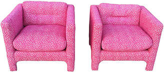 One Kings Lane Vintage 1950s Pink Leopard Cube Chairs - Set of 2 - Chic Transitions