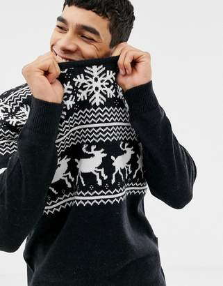 French Connection Reindeer Fairisle Holidays Sweater
