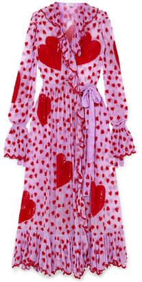Ashish Ruffled Embellished Chiffon Wrap Maxi Dress - Pink