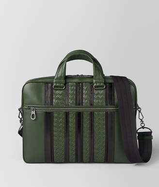 Bottega Veneta FOREST/NERO NAPPA TECH STRIPE BRIEFCASE