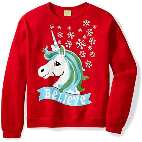 Ugly Fair Isle Unisex Fleece Believe Unicorn Crewneck Christmas Sweater