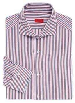Isaia Contemporary Fit Striped Cotton Dress Shirt