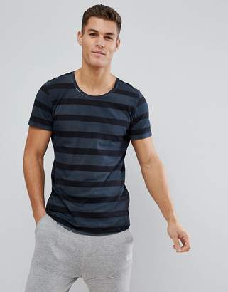 Jack and Jones Originals T-Shirt With Stripe And Curved Hem