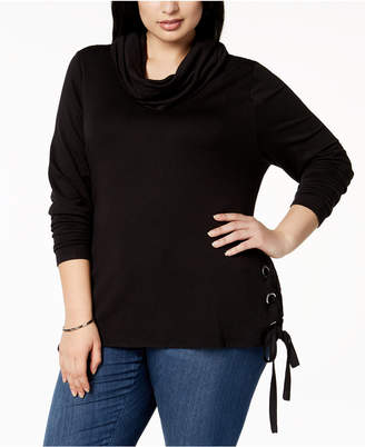 Belldini Plus Size Lace-Up Sweater