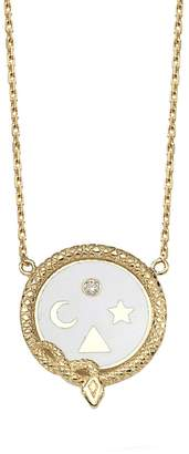 Foundrae Petite White Champlevé Wholeness Medallion Stationary Necklace