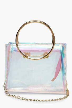 boohoo Megan Metal Handle Clear Crossbody