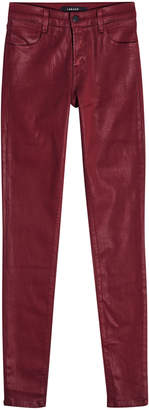J Brand Mid-Rise Super Skinny Coated Jeans