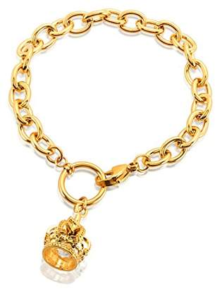 ELYA Jewelry Womens Plated Crown Charm Stainless Steel Cable Chain Bracelet