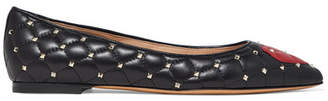 Valentino Garavani The Rockstud Quilted Leather Point-toe Flats - Black