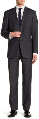 Hart Schaffner Marx New York Brown Plaid Two Button Notch Lapel Wool Suit