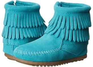 Minnetonka Kids Side Zip Double Fringe Girls Shoes