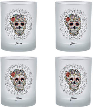 Fiesta Skull and Vine Sugar 14-Ounce Frosted DOF Double Old Fashioned Glass Set of 4