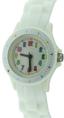 Citron Children's Quartz Watch with White Dial Analogue Display and White Silicone Strap KID109