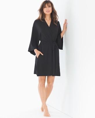 Cool Nights Kimono Sleeve Short Robe Black