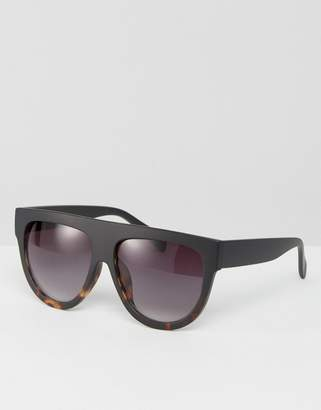 Asos DESIGN Flat Top Visor Aviator Sunglasses