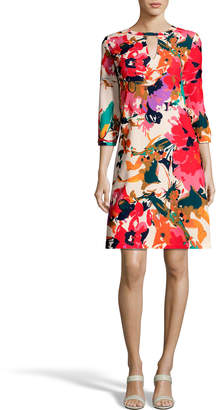 Label By 5twelve 3/4-Sleeve Abstract-Floral A-Line Dress