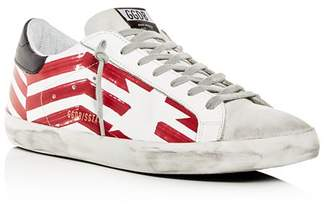Golden Goose Men's Superstar Flag Leather Low-Top Sneakers