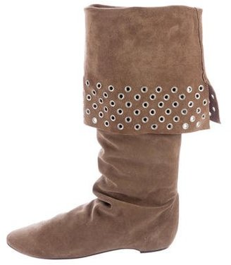 Delman Grommet-Accented Knee-High Boots $95 thestylecure.com