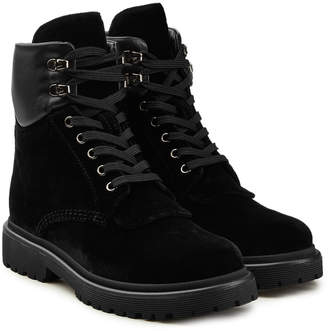 Moncler Patty Velvet Ankle Boots with Leather