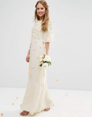 Asos Design BRIDAL Scattered 3D Floral Flutter Sleeve Maxi Dress