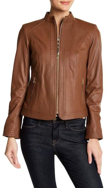 Cole Haan  Cole Haan Genuine Leather Front Stitch Panel Jacket