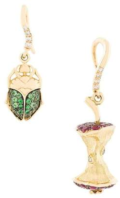 Aurelie Bidermann Apple Core & Scarab set of diamond earrings