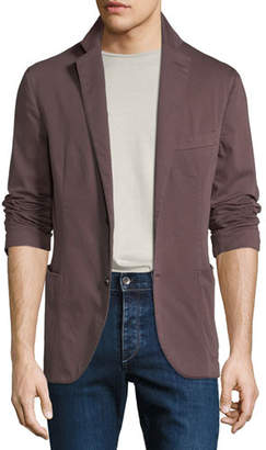 Culturata Men's Garment-Washed Patched Jacket