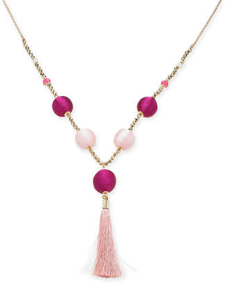 """INC International Concepts I.n.c. Gold-Tone Bead & Wrapped Ball Long Tassel Necklace, 34"""" + 3"""" extender, Created for Macy's"""