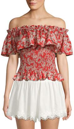 Rebecca Taylor Silk Cherry Blossom Off-The-Shoulder Top