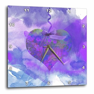 3dRose Bright Purple Heart Art on Ribbon with a Bow, Wall Clock, 13 by 13-inch