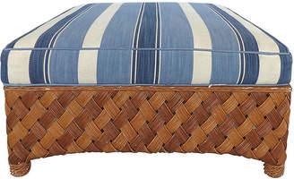 One Kings Lane Vintage Overscale Woven Rattan Ottoman