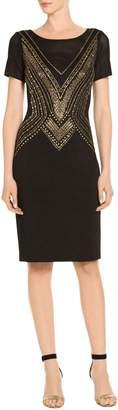 St. John Layered Pointelle Jacquard Knit Dress