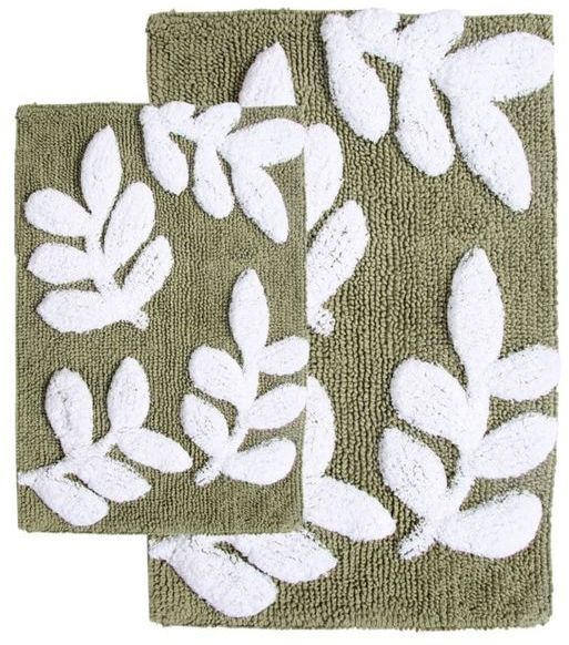 Chesapeake Merchandising, Inc Monte Carlo Cotton Sage and White 2-piece Bath Rug Set - Includes BONUS Step Out Mat