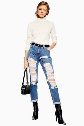 Topshop Womens Mid Blue Super Rip Lucas Jeans - Mid Stone