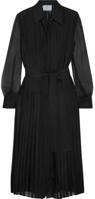 Prada Pleated Silk-chiffon Midi Dress - Black