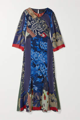 Etro Patchwork Printed Silk-chiffon Maxi Dress - Blue