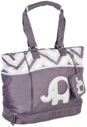 Baby Essentials Diaper Bag + Diaper Changing Kit with Portable Nap Mat - Grey Elephant