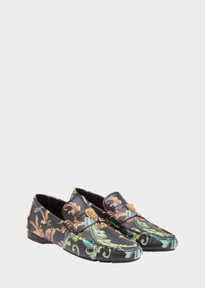 Versace Acid Baroque Print Leather Loafers