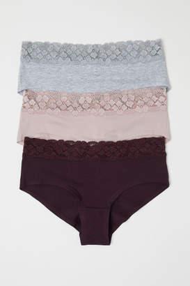 H&M 3-pack Cotton Hipster Briefs - Purple