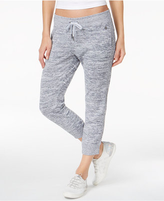 Calvin Klein Performance Ribbed-Inset Heathered Cropped Joggers $49 thestylecure.com
