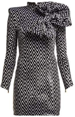 Balmain Chevron Striped Bow Embellished Mini Dress - Womens - Black White