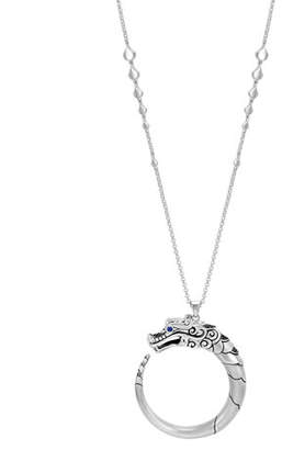 """John Hardy Legends Naga Silver Pendant Necklace with Sapphires, 34"""""""