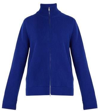 Maison Margiela Ribbed Wool Zip Up Sweater - Mens - Blue