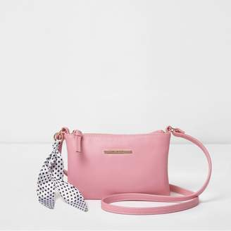 River Island Girls Pink polka dot scarf cross body bag