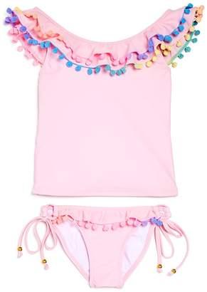 Pilyq Girls' Pom-Pom Tankini Swimsuit - Little Kid, Big Kid