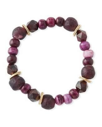 Akola Multihued Jade, Bone & Glass Bead Bracelet
