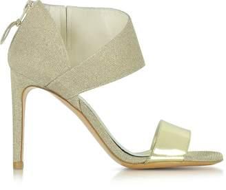 Stuart Weitzman Getonup Pale Gold Nocturne Textured-lame Sandals