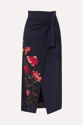 Mother of Pearl Net Sustain And Bbc Earth Annabelle Wrap-effect Floral-print Organic Silk Skirt - Navy