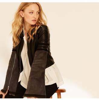 Amanda Wakeley Black Charcoal Cropped Leather Jacket